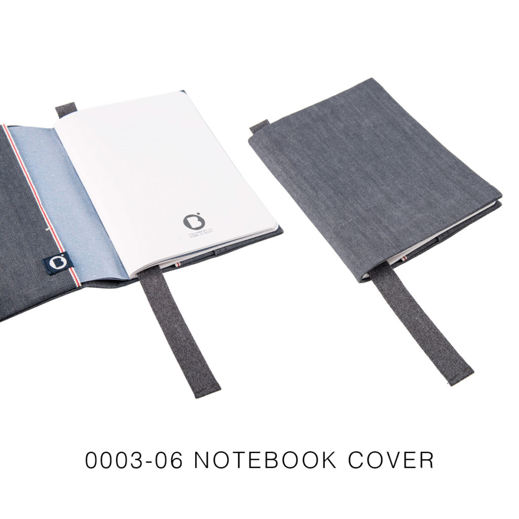 0003-06 NOTEBOOK COVER denim cimosato grigio / grey selvedge denim 21,5x15x2 cm