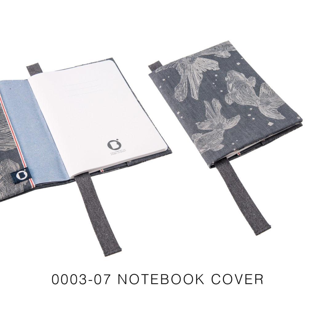 0003-07 NOTEBOOK COVER denim cimosato grigio con laser design / grey selvedge denim with laser design 21,5x15x2 cm