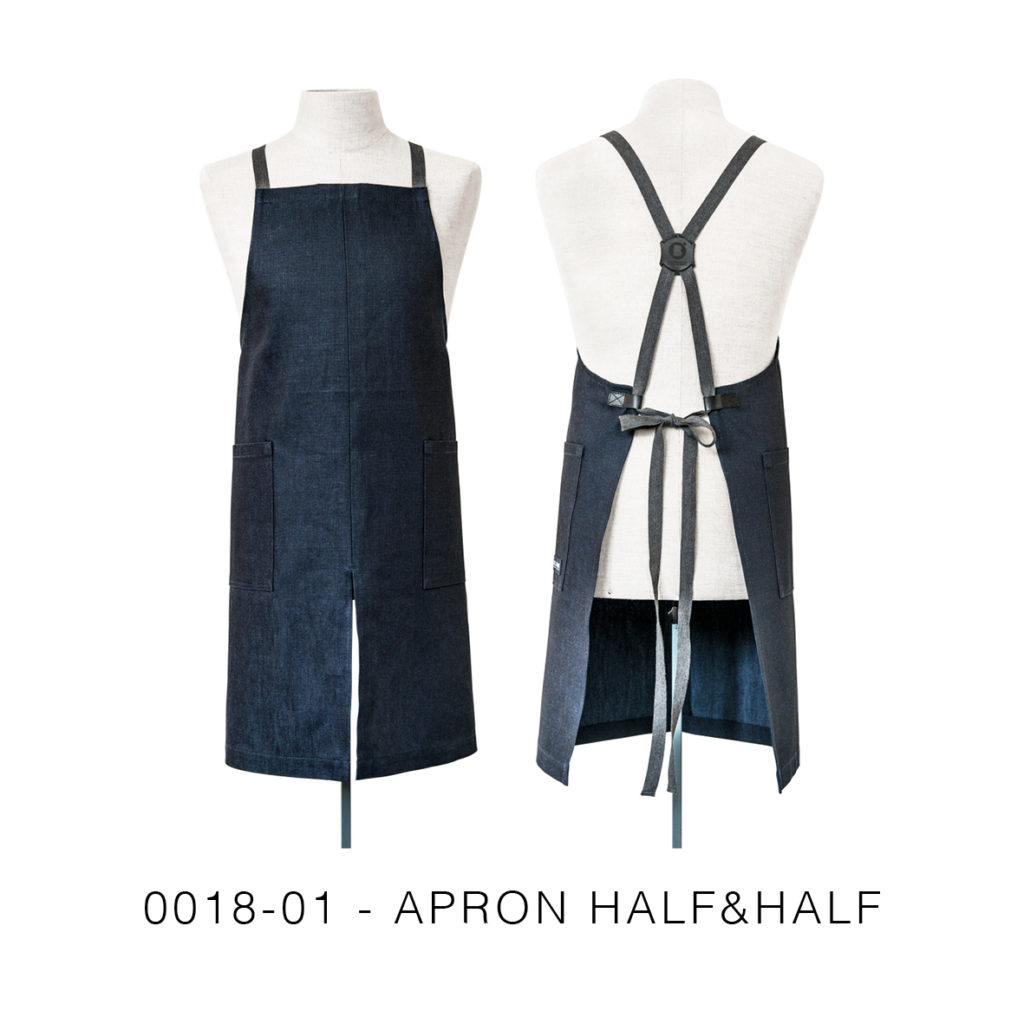 0018-01 APRON HALF&HALF denim riciclato / recycled denim