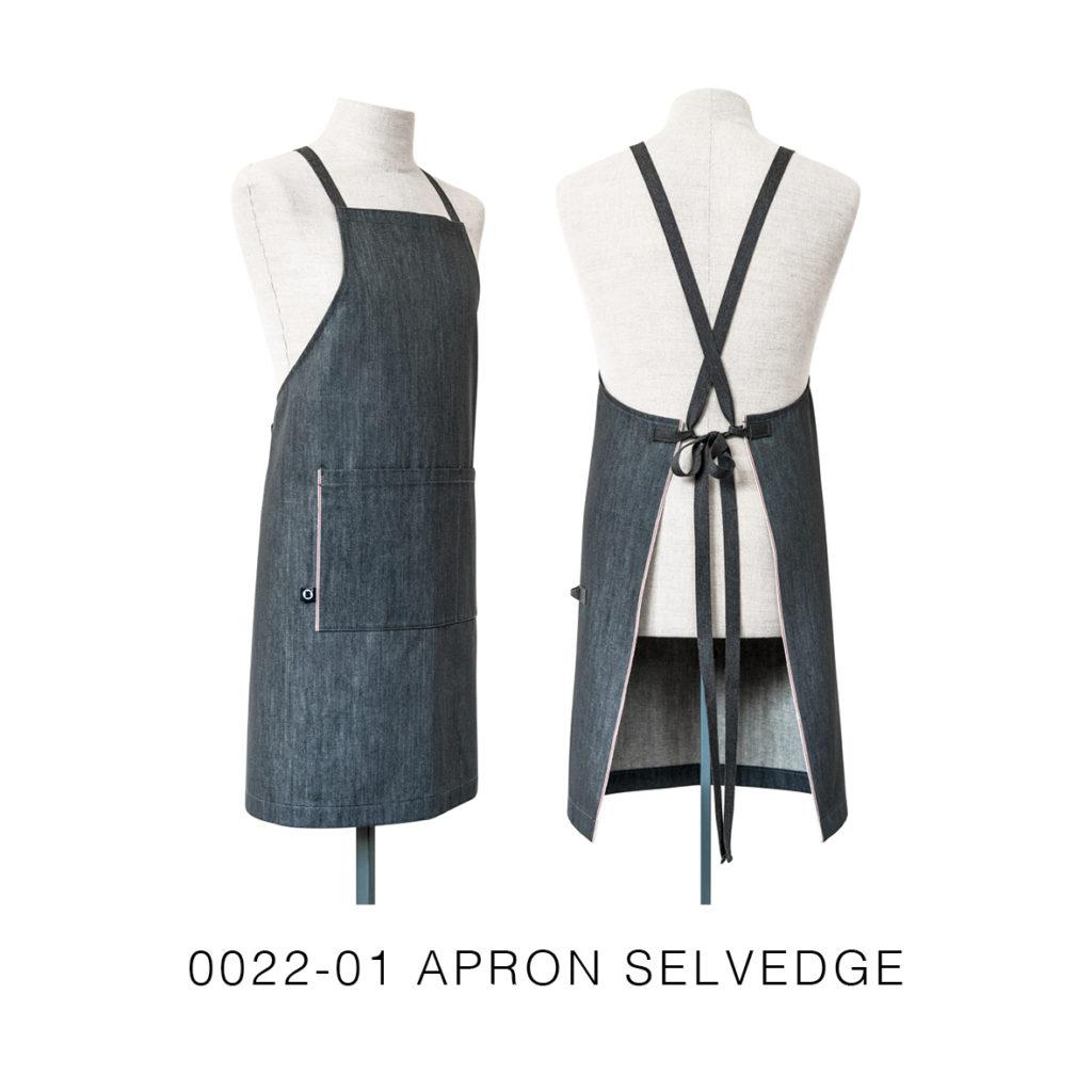 0022-01 APRON SELVEDGE denim cimosato grigio con chiusura ad incrocio / grey denim selvedge with crossed closure