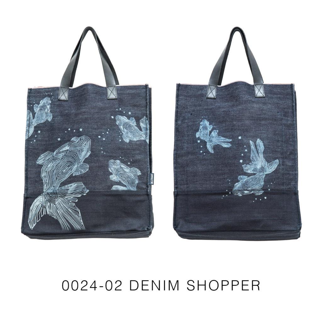 0024-02 Denim Shopper con laser design / with laser design 33x41x17 cm