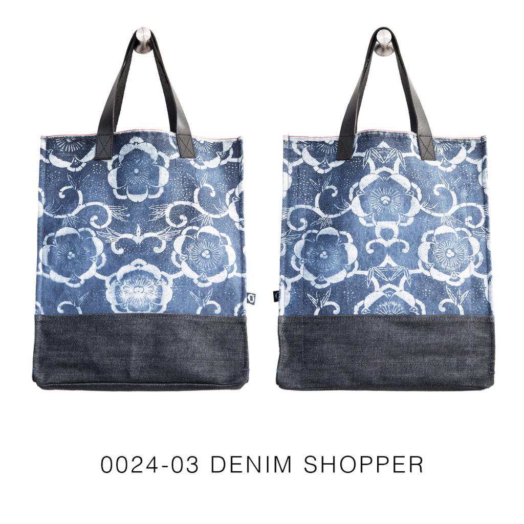 0024-03 Denim Shopper con stampa serigrafica floreale / with floral serigraphy print 33x41x17 cm