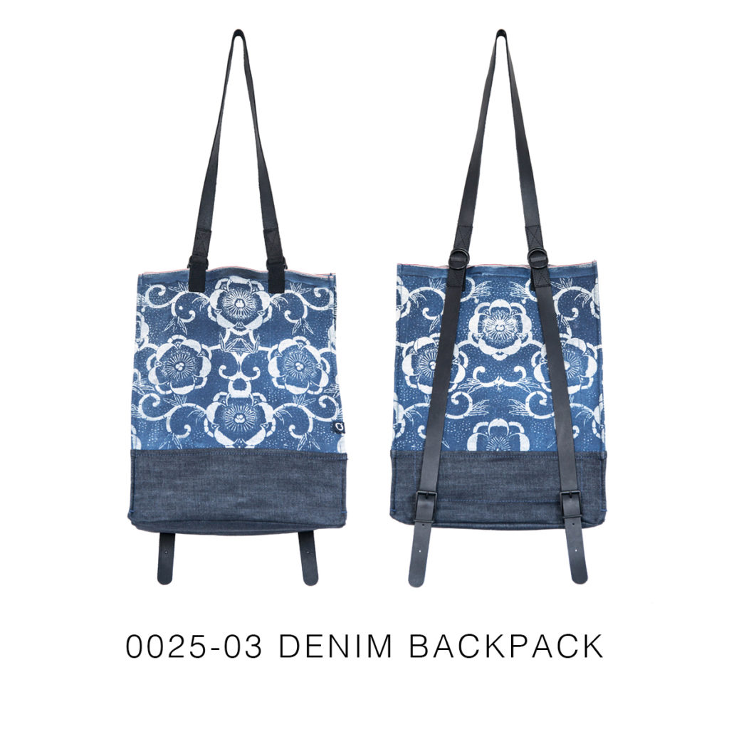 0025-03 Denim Backpack con stampa serigrafica floreale / with floral serigraphy print 33x41x17 cm