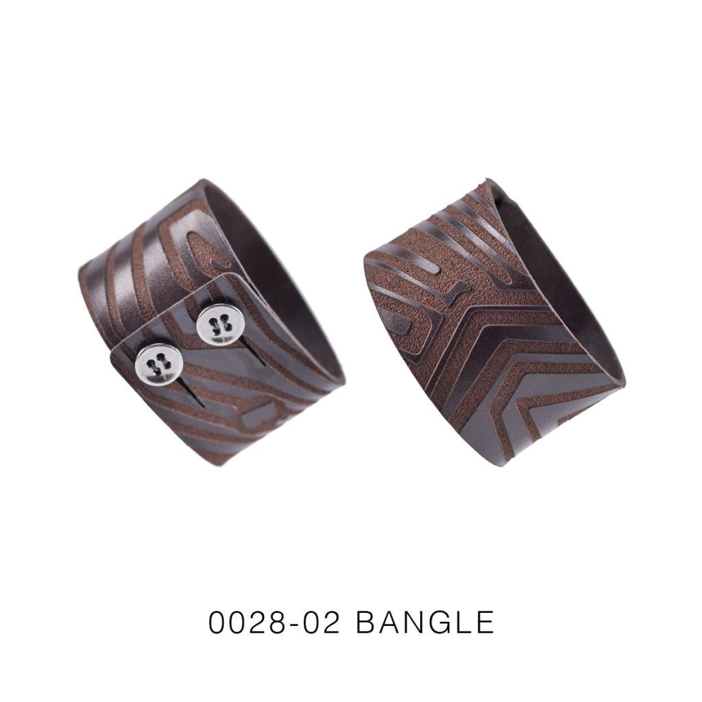 0028-02 Bangle Taglio e grafica laser / Laser cut and graphic Testa di moro / Brown 100% PELLE CONCIA AL VEGETALE / VEGETABLE TANNING LEATHER