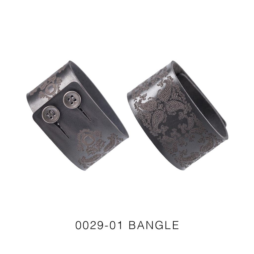 0029-01 Bangle Taglio e grafica laser / Laser cut and graphic Nero / Black 100% PELLE CONCIA AL VEGETALE / VEGETABLE TANNING LEATHER