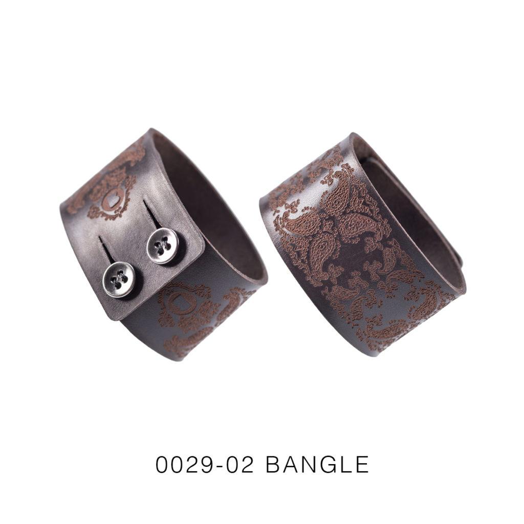 0029-02 Bangle Taglio e grafica laser / Laser cut and graphic Testa di moro / Brown 100% PELLE CONCIA AL VEGETALE / VEGETABLE TANNING LEATHER