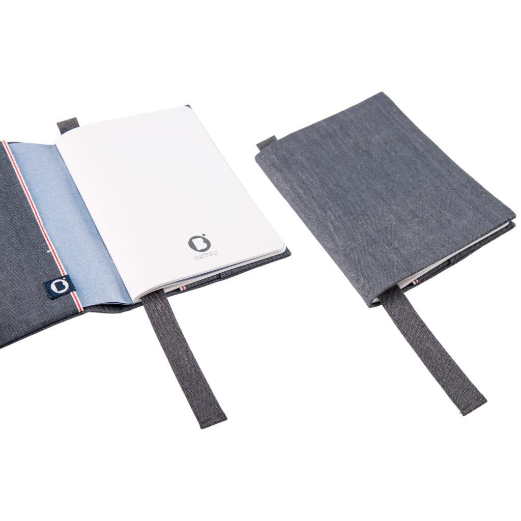 0003-06 NOTEBOOK COVER denim cimosato grigio / grey selvedge denim