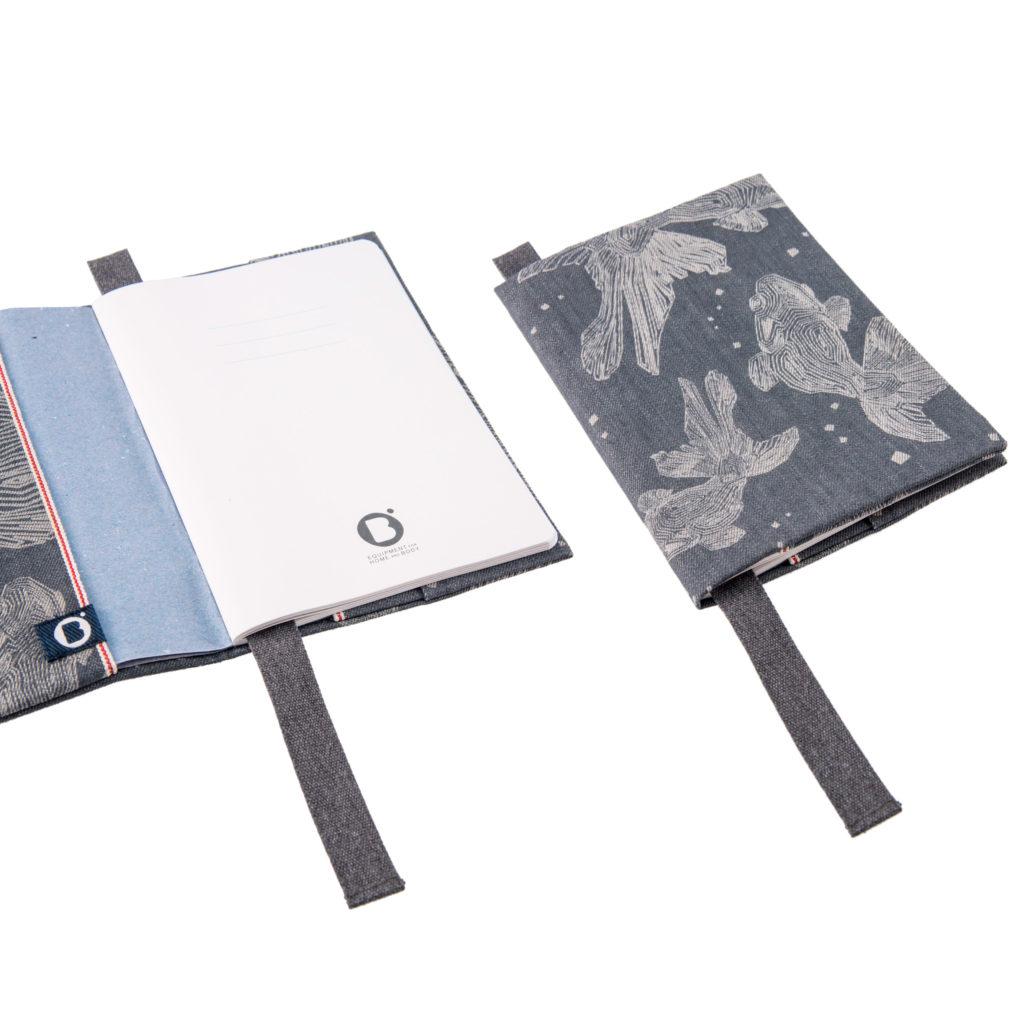0003-07 NOTEBOOK COVER denim cimosato grigio con laser design / grey selvedge denim with laser design