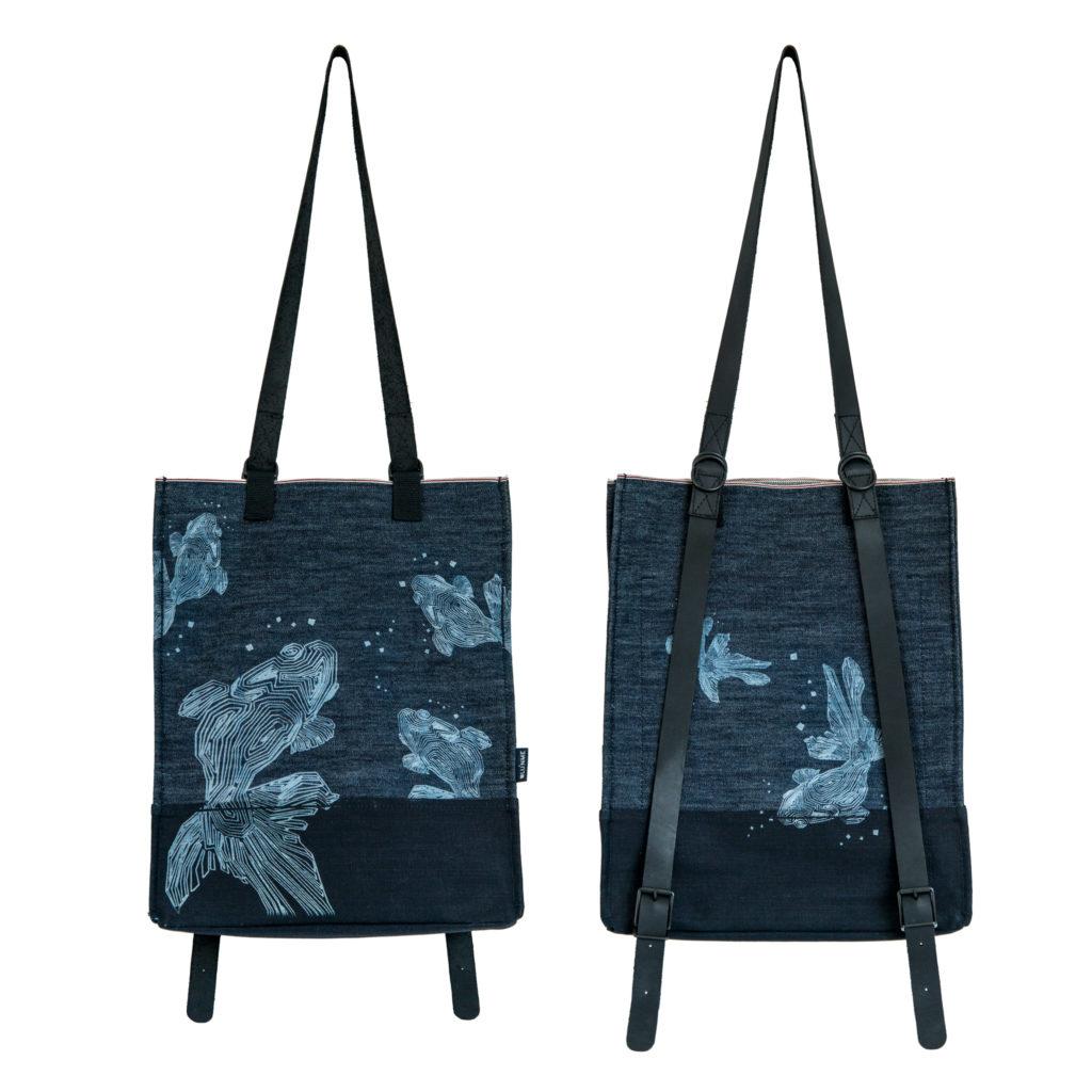 0025-02 Denim Backpack con laser design / with laser design